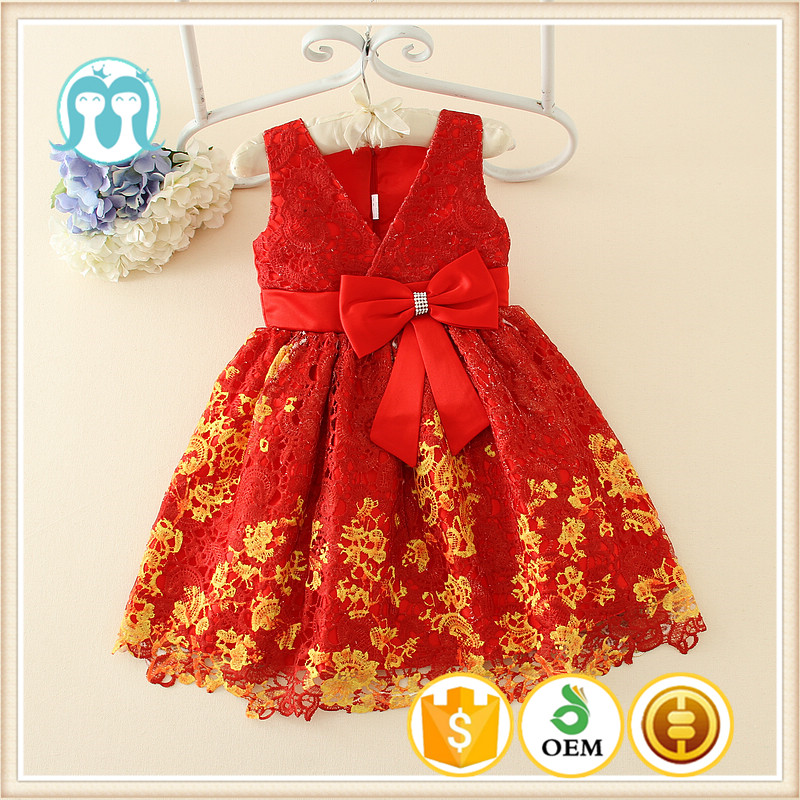 trade assurance quality order factory chinese wholesaler girls baby party apparels kids flower red dress new design