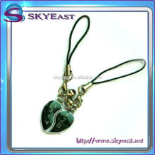 Special Design Hear Shape Metal Mobile Phone Charms for Gift
