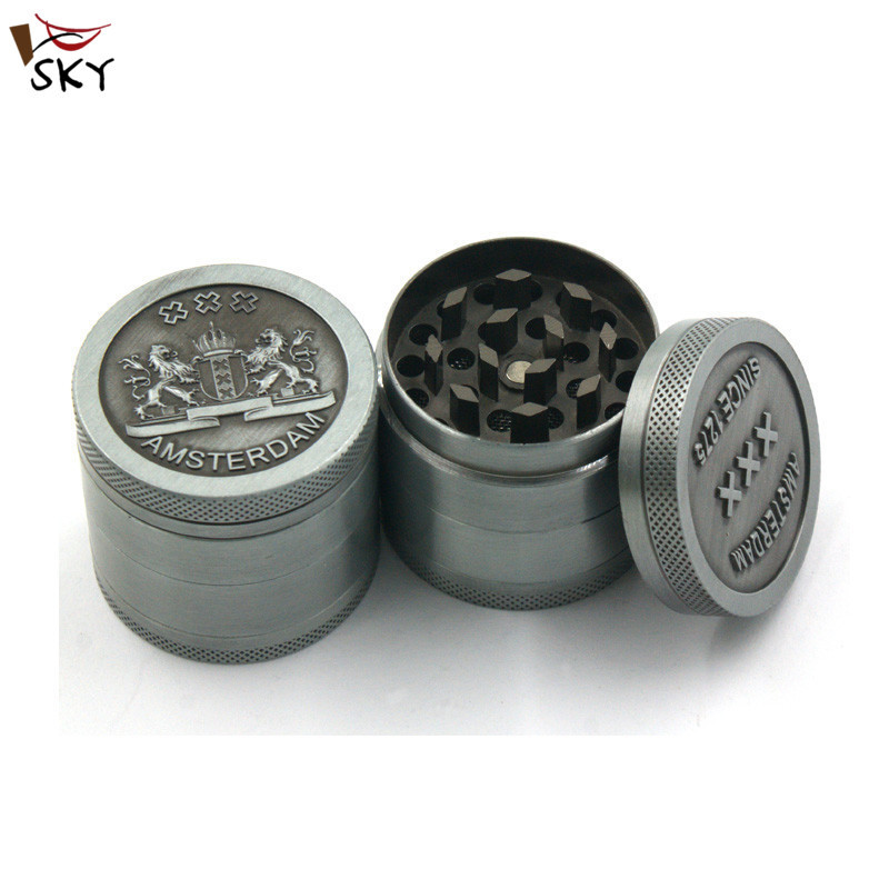 [SKY] 1PC NEW 40MM*37MM classic gray 4 layer metal herb grinder crusher hand muller spice tobacco grinder Wholesale MMY-1033