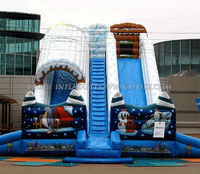 Christmas theme inflatable water slide, dry slide for event C1012