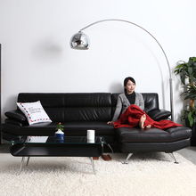 Cheap modern black genuine leather corner sofa,L shaped leather sectional sofa set designs