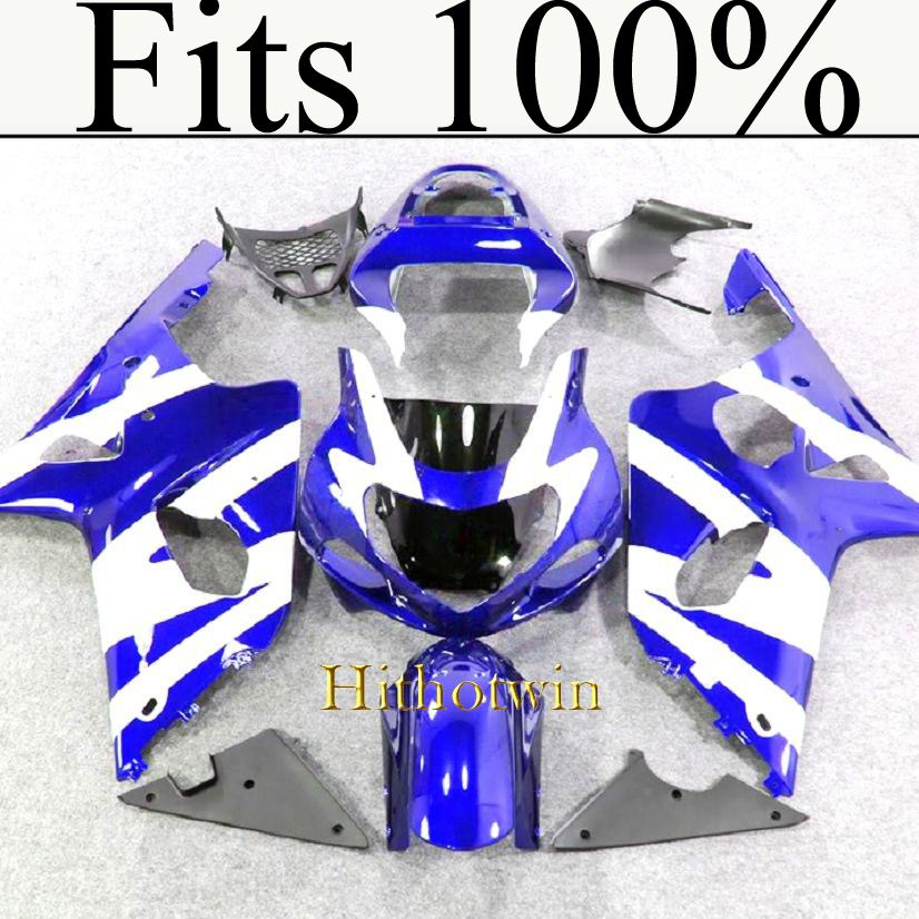 Fits 100%!! INJ Fairing 2000 2001 2002 GSXR 1000 blue white Fairing For Suzuki GSXR1000 2000 2001 2002 Bodywork Plastic Kit Se