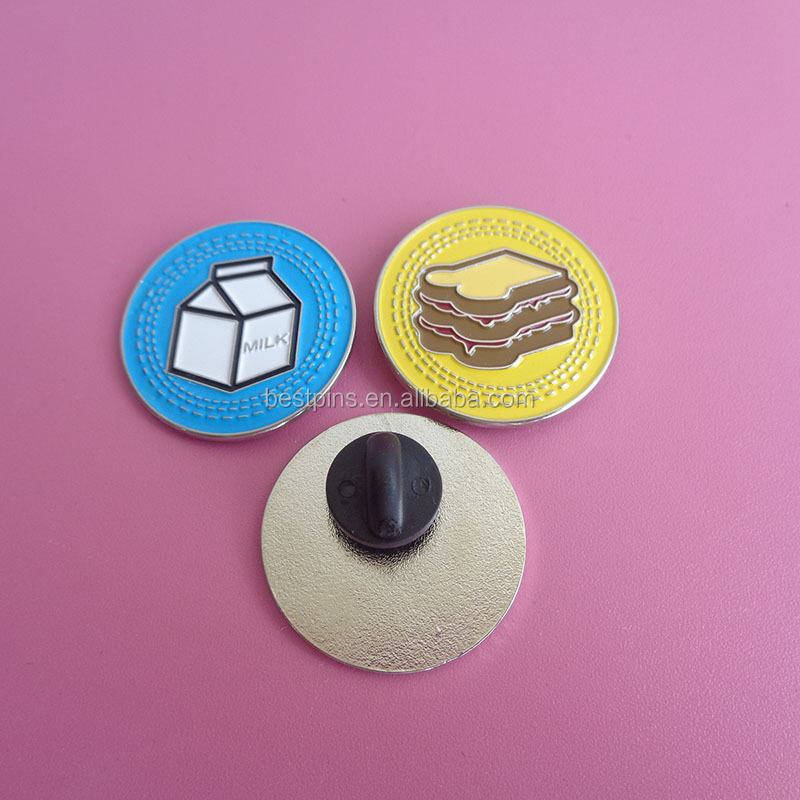 Promotional milk and bread design metal lapel pin badges for breakfast bars