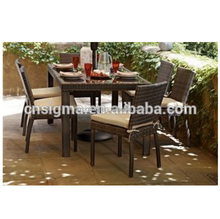 2017 Sigma all weather quickest delivery cheap metal and rattan glass top tables and chairs