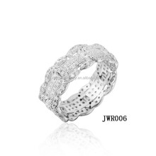 Round circle wedding 925 silver ring