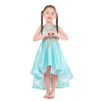 Hot-selling baby girl dress blue stain flower prints short sleeve party dress