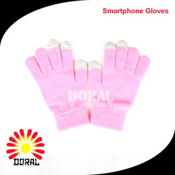 Factory Customized Winter Touch Screen Gloves Cute Pink Knitted Gloves for Children