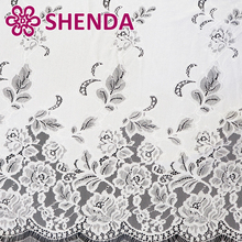 White bridal floral pattern lace fabrics, French lace fabric for wedding dress