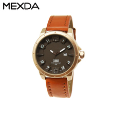 New arrival custom design big face quartz watch strap genuine leather for man