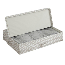 Large Capacity Grey Patterned Vintage Fabric Polyester Underbed Quilt Storage Box