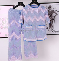 New fashion knitted twin set sweater for lady with waved and gradients design