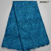 Embroidered taffeta lace fabric african fabrics 5 yards tulle embroidery 3d laser cut beaded