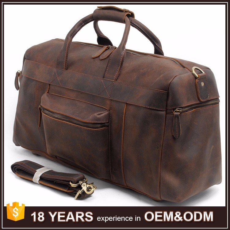 Custom Oversized Vintage travel leather duffel bag for gym and sports