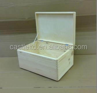 Solid unpainted wooden chest box trunk storage unfinished pine wood toy box