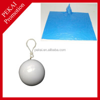High Quality Disposable Rain Poncho/Raincoat Ball With Keyring/Plastic Poncho Balls