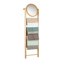 4-Tier Bamboo Towel Rack Leaning Bathroom Ladder Shelf with Mirror