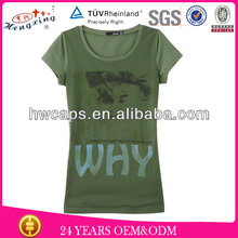 Custom printing women's plain o neck t-shirt in comfortable