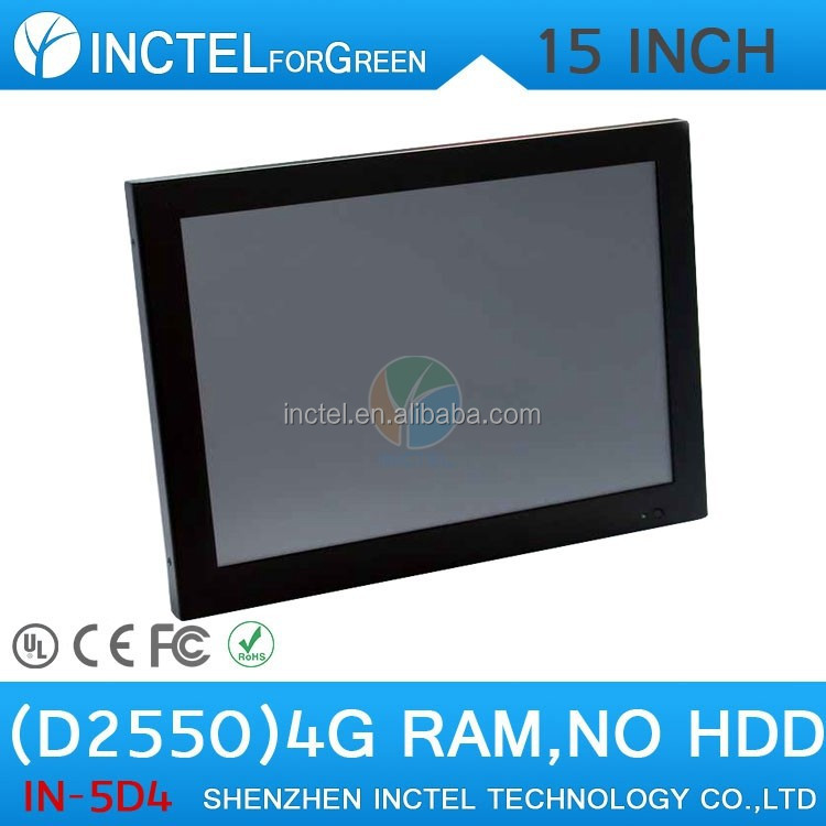 "audio-visual center HDPC living room computer all in one touchscreen Windows7 PC with LED 2mm panel 15"" D2550 Dual Core 1.86Ghz"