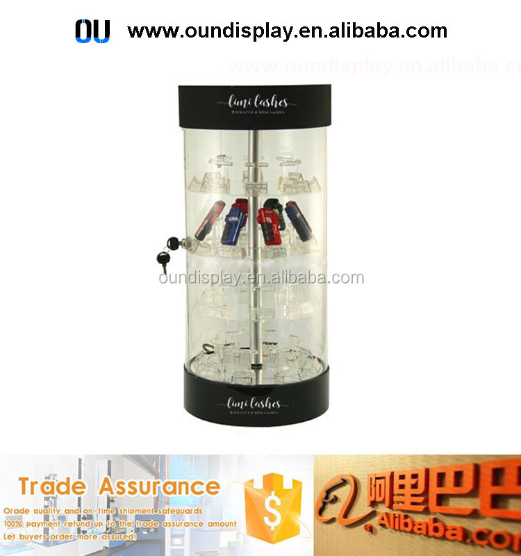 acrylic electric rotating mobile phone display lockable jewelry display case