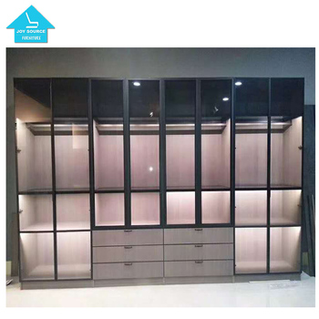 New 2019 narrow-sided toughened glass door wardrobe