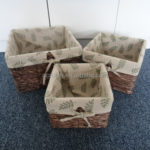 Wholesale vintage storage straw grass weaving baskets with liner set of 3