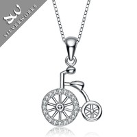 Retro Vintage Penny Farthing Bicycle 925 Silver Necklace Pendant With Zircon