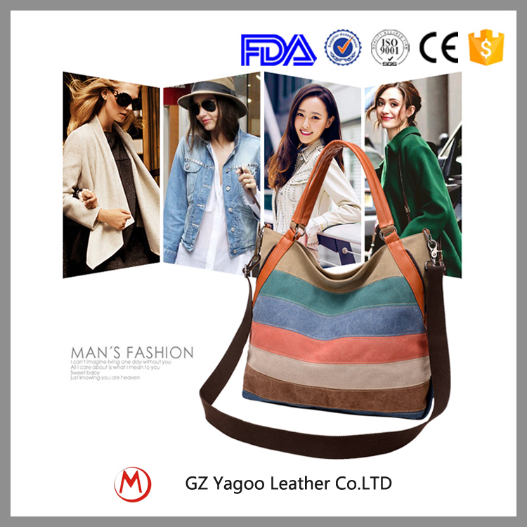 Customized high quality stripe beach canvas tote bag / cross body hobo bag
