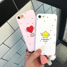 Cute Flying Smile Stars Cartoon Case For iphone 7 Fashion Tassel Pendant Phone Cases Funny Words Cover For iphone 6 6Plus