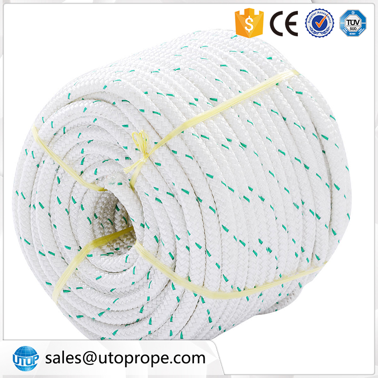 UTOP 6-20MM White with green color nylon braided rope High tensile nylon rope marine sailing rope