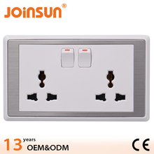 Double 3-feet universal 13A wall socket with switch