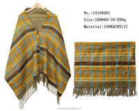 fashion plaid shawls w button knitted pashmina shawl scarf woman spring capes