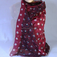 Floral Pattern Printed on Maroon Base Indian Ethnic Silk Wool Shawl