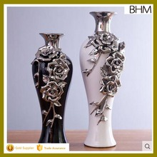 Yiwu wholesale electroplated flower ceramic vase made in jingdezhen