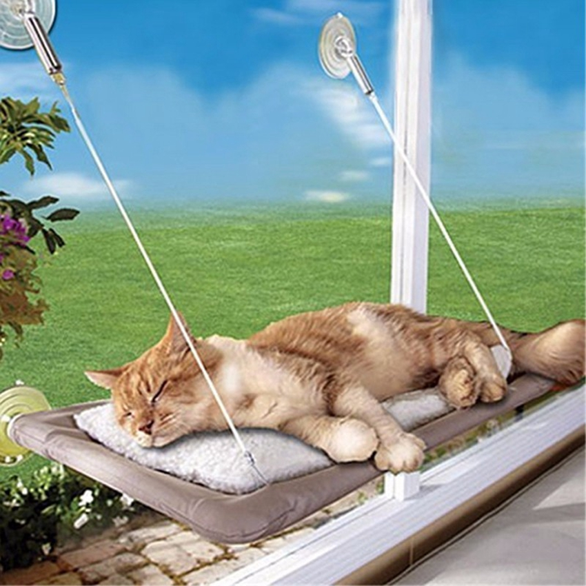 Practical Washable Funny Puppy Pet Hammock Window Mounted Cat Bed Sunny Seat Machine Pet Cat Hanger Bed CA3089