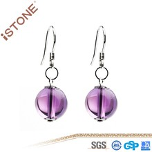 Amethyst Crystal 925 Sterling Sliver Ball Drop Earring