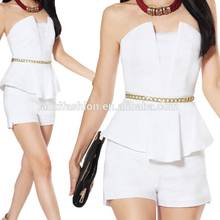 New White Wrap Tops and Shorts Elegant Office Fancy Ladies Suits