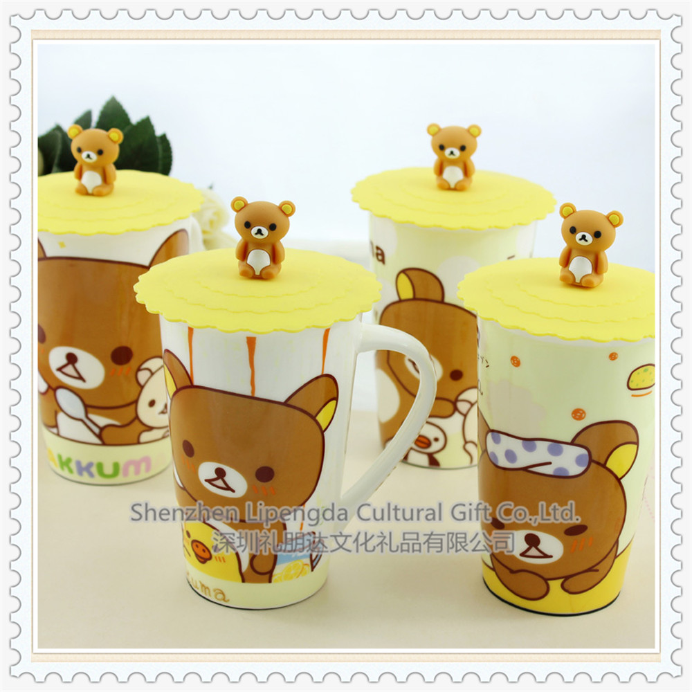 Custom Silicone Cup Lid Multi-design Silicone Cartoon Cup Cover