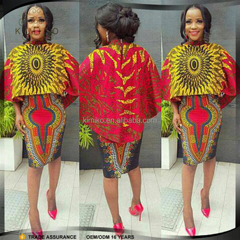 Hot Selling New Fashion Design Wax Print Fabric African dress