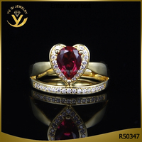 Top quality heart shaped ruby AAA zircon ring pave diamond rings yellow gold jewellery rings wholesale