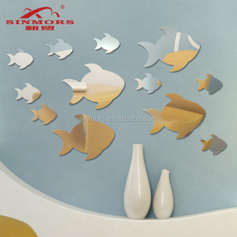 China wholesale acrylic 3d bathroom wall tile stickers/fish shape wall art mirror wall sticker