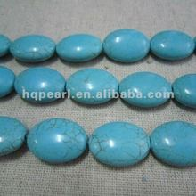 oval turquoise beads, dyed howlite beads, howlite turquoise beads