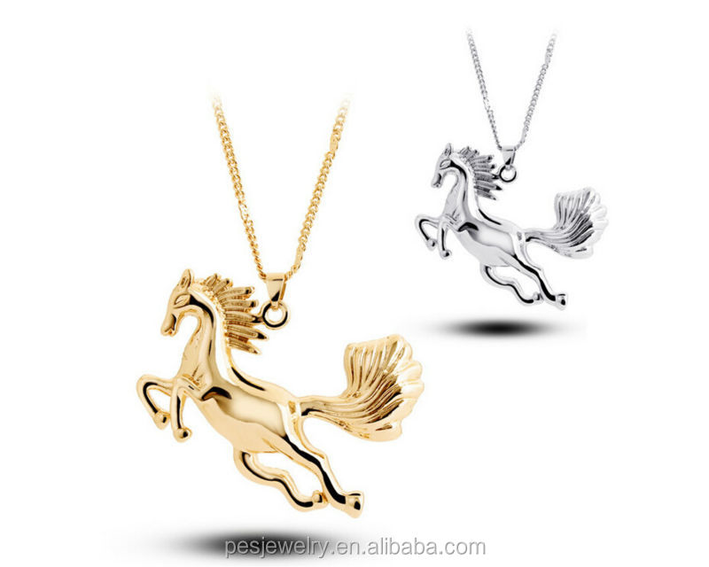 Hot Sell Running Horse Charm Pendant Necklace (PES1-121)
