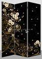 modern black 6ft Tall floral printed canvas screens and room dividers