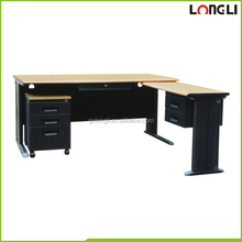 Black office L shape computer desk with a movable filing cabinet