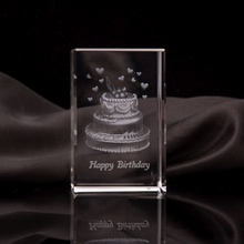 Hot Sale Engraving 3D Laser Crystal Blank Block Cake Cube For Birthday Gifts Souvenirs