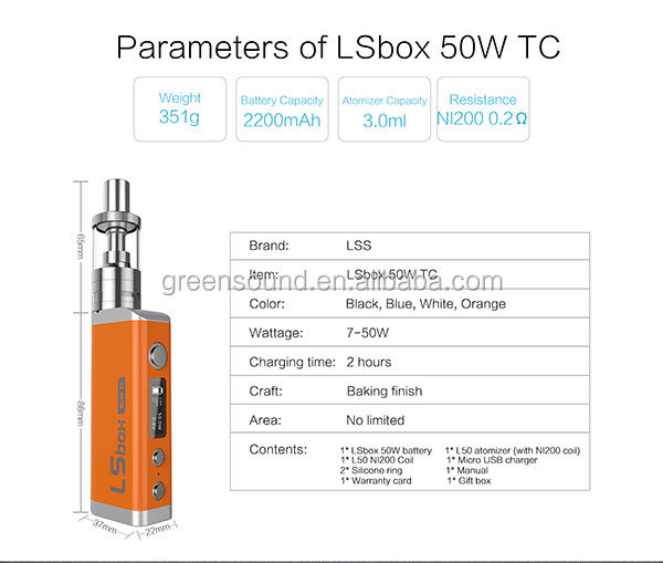 Alibaba China Hot Ecig 0.2 clearomizer LSBOX 50W adjustable TC e cig box mod