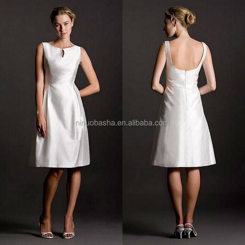 Wholesale 2014 Cheap Short A-Line Satin Wedding Dress Jewel Neck Scooped Back Knee-Length Zipper Bridal Gown Online Shop NB0932