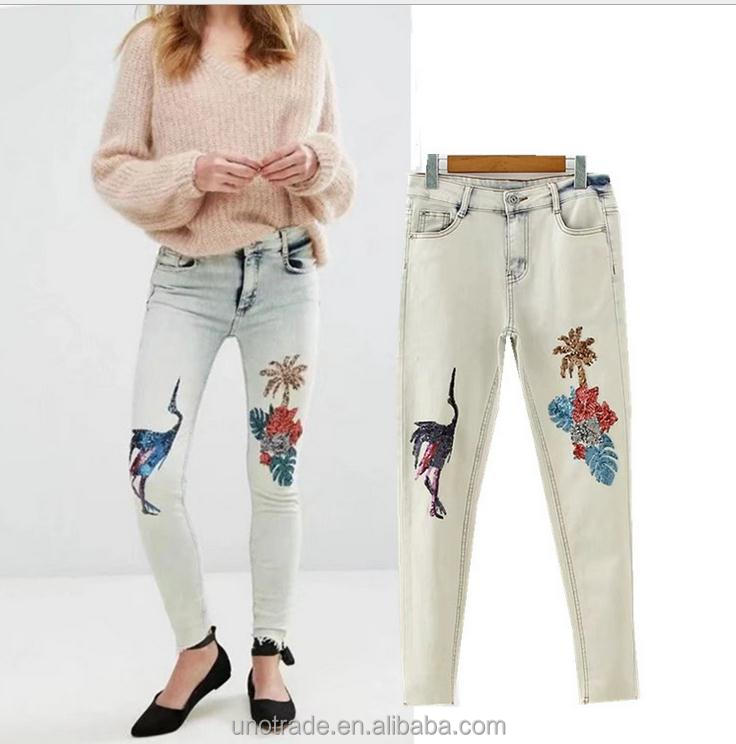 WS0013 Ladies Top Pent Narrow Bottom Sequins Embroidery Pants Hot Girl Wholesale Jeans