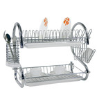 Multifunctional 2 Tiers Kitchen Stainless Steel Dish Rack