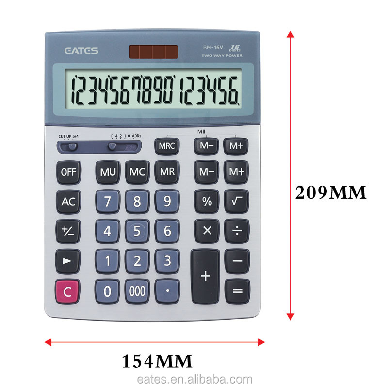 16 digits dual power big display desktop calculator for business use